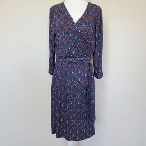 Lucky Brand Blue Red Print Wrap Dress Medium